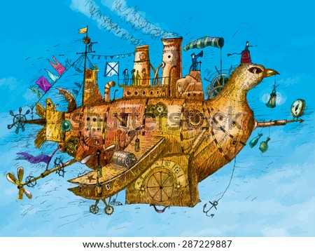 Steampunk vintage plane, hand drawn vector illustration. The mechanical bird airplane flies against the blue sky - stock vector