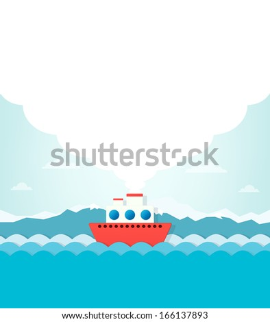 steamship on a background of mountains. white smoke rises into t - stock vector
