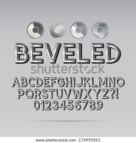 Steel Beveled Outline Font and Digit, Eps 10 Vector, Editable for any Background - stock vector