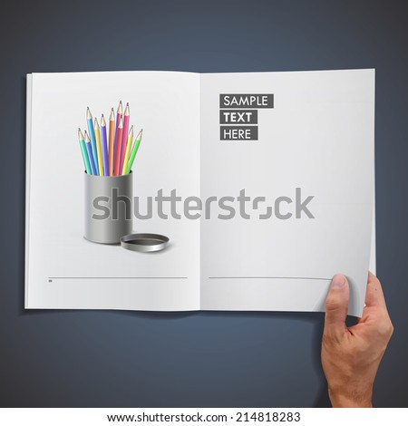 Steel box with crayons printed on book - stock vector