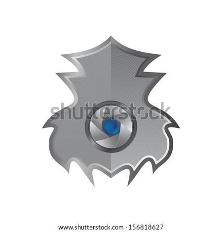 steel lens inside shield - stock vector