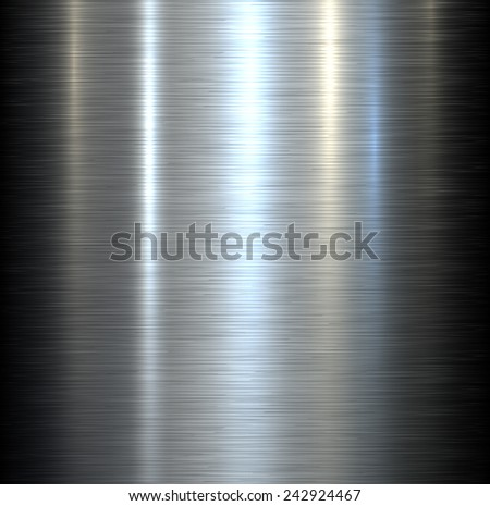 Steel metal background brushed metallic texture with reflections.  - stock vector