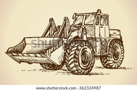 Steel scrape push load traction on big rubber bus tire isolated on white background. Freehand ink hand drawn picture doodle sketchy pen on paper. Side view with space for text on sand dirt land quarry - stock vector