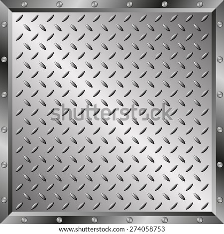 steel sheet with metal frame - stock vector
