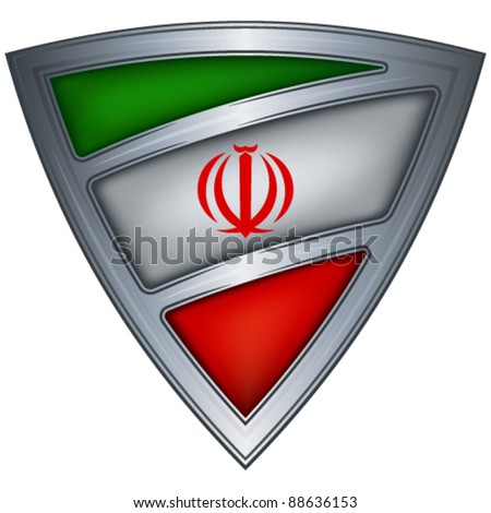 Steel shield with flag Iran - stock vector