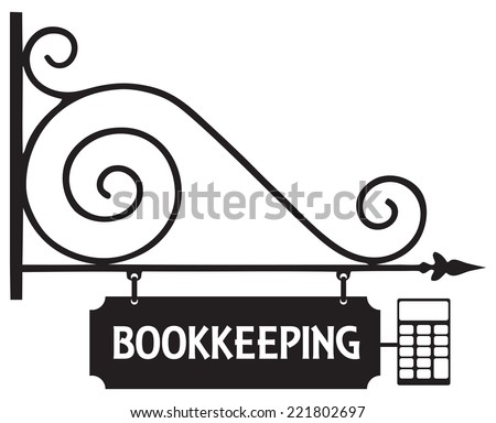 Steel signboard accounting office for outdoor placement. Vector illustration. - stock vector