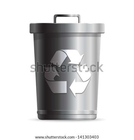 Steel Trash can or dustbin with recycle symbol - icon isolated on white background. Vector - stock vector
