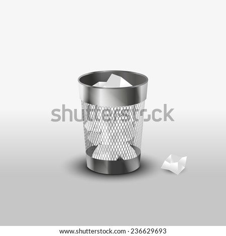 Steel trash can with paper garbage realistic vector icon - stock vector