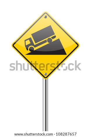 Steep Grade sign isolated on a white background - stock vector