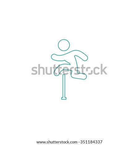 Steeplechase Outline vector icon on white. Line symbol pictogram  - stock vector
