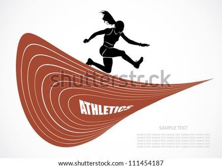 Steeplechase runner - vector background - stock vector