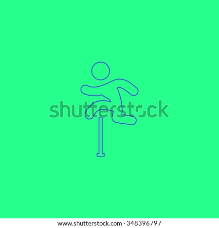 Steeplechase Simple outline vector icon on green background  - stock vector