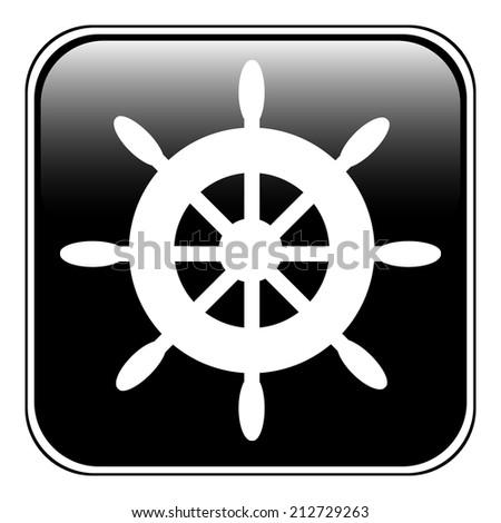 Steering wheel button on white background. Vector illustration. - stock vector