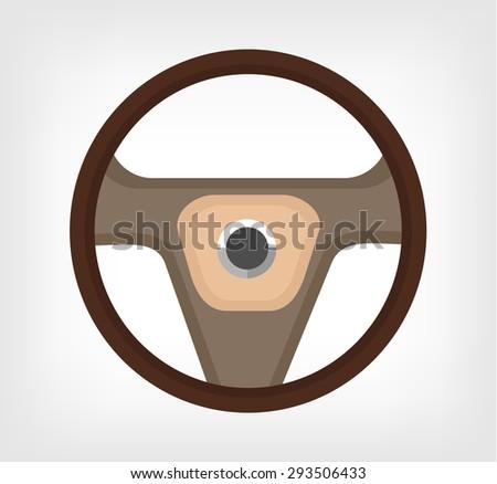 Steering wheel. Vector flat illustration - stock vector