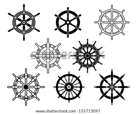 Steering wheels set for heraldry design isolated on white background or idea of logo. Jpeg version also available in gallery - stock vector
