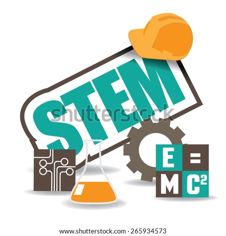 STEM icon flat design. EPS10 vector illustration for advertising, promotion, poster, flier, blog, article, social media, marketing, education  - stock vector