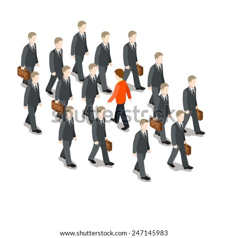 Stem the tide. Breast the current. Own way in business concept flat 3d web isometric infographic vector. Red businessman walk against crowd of grey usual men. Creative people collection. - stock vector