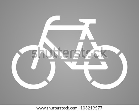 Stencil bicycle, road surface sign, on asphalt or tarmac - stock vector