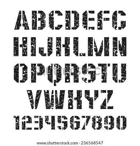 Stencil-plate sanserif font and numeral with shabby texture in military style. Black print on a white background - stock vector