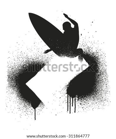 stencil surf frame - stock vector