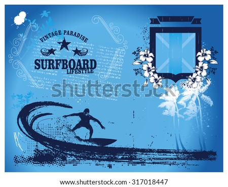 stencil surf summer frame with shield and surfer - stock vector