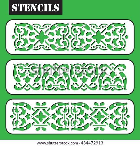 Stencil. Vector set vintage ornate border frame filigree with retro ornament pattern in antique baroque style arabic decorative calligraphy design. Laser cutting wall art decor. Arabesque. - stock vector