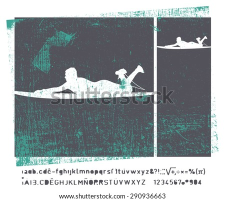 stencil vintage surf frame - stock vector