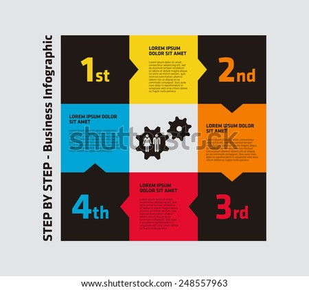 Step by Step Business Infographic - stock vector