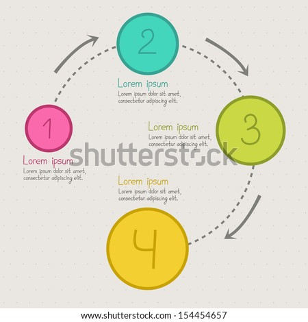 Step by step circle infographics. Work process. Vector illustration - stock vector