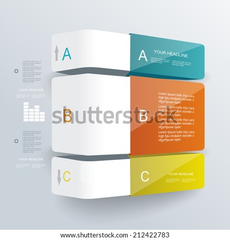 Step by step infographics illustration. Levels of your data. - stock vector
