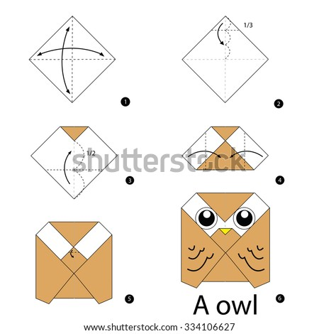 step by step instructions how to make origami Owl. - stock vector