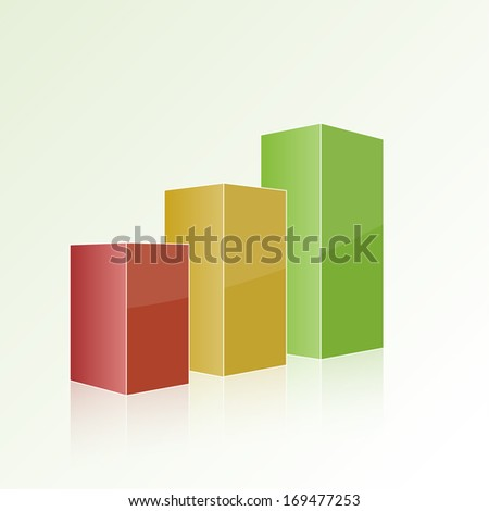Step by step multi-colored chart with positive growth. Volumetric isolated figure, template for design, web, reports, and presentations.  - stock vector