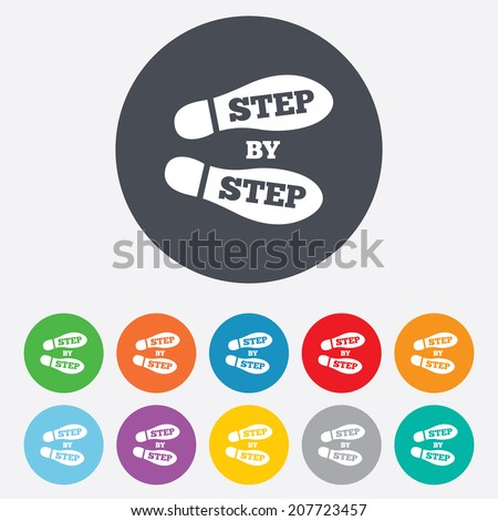 Step by step sign icon. Footprint shoes symbol. Round colourful 11 buttons. Vector - stock vector