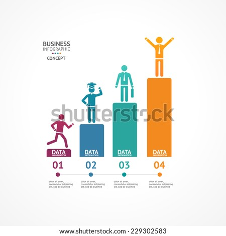Step by step to success infographics illustration. Modern business options banner. - stock vector