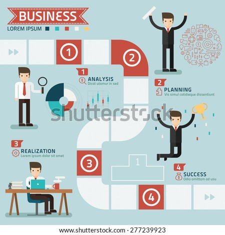 step for success business concept vector - stock vector