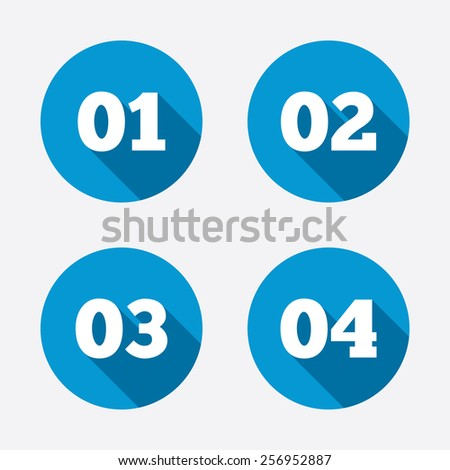 Step one, two, three and four icons. Sequence of options symbols. Loading process signs. Circle concept web buttons. Vector - stock vector
