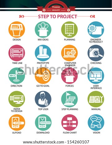 Step to project and Business concept icons,Colorful version,vector - stock vector