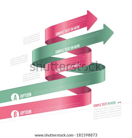 Steps paper strip template. Vector option info-graphic.  EPS 10. RGB. All effects are created with simple gradients and transparency, No mesh. File is layered with global colors.  - stock vector