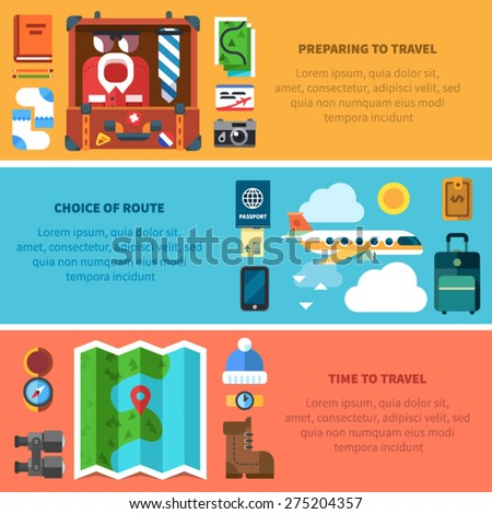 Steps to starting a travel. Instruction, 3 steps, camera, tickets, book, pencils, socks, suitcase, passport, phone, air plane, map, compass, binoculars, hat, watches, shoes. Vector flat illustration  - stock vector