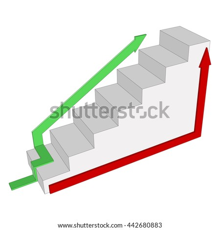 Steps to success with the different directions of the staircase. Ladder 3d  with arrows side view isolated.   Vector illustration on a white background. - stock vector