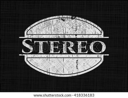 Stereo chalk emblem, retro style, chalk or chalkboard texture - stock vector
