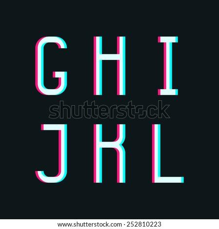 Stereo font, letters g, h, i, j, k, l on dark background - stock vector