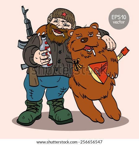 Stereotypical Russian man and bear in color - stock vector