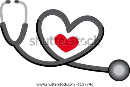 Stethoscope drawing with small heart - stock vector