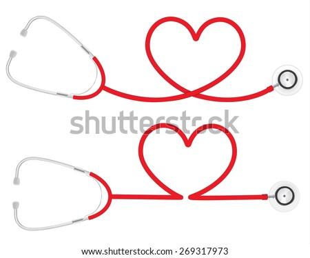 Stethoscope Heart Shape, medical concept, vector 10 - stock vector