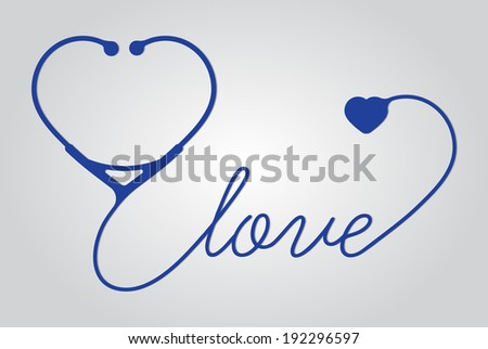 stethoscope heart with love, vector - stock vector