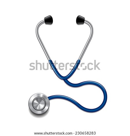 Stethoscope isolated on white photo-realistic vector illustration - stock vector