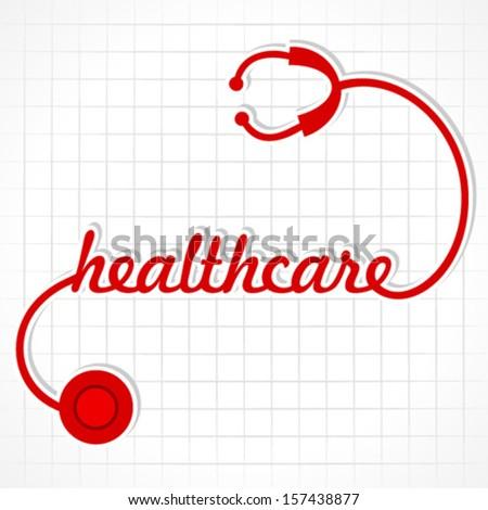 Stethoscope make healthcare word stock vector - stock vector