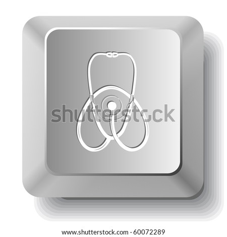 Stethoscope. Vector computer key. - stock vector