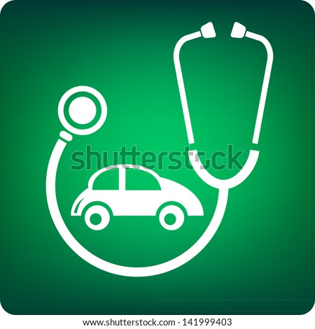 Stethoscope with a car inside on green background - stock vector